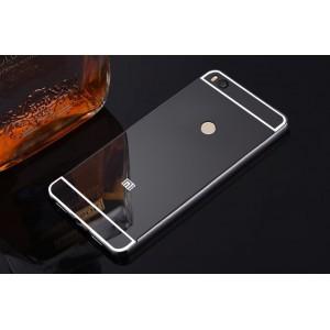Двухкомпонентный чехол c металлическим бампером с поликарбонатной накладкой и зеркальным покрытием для Xiaomi Mi Max 2  Черный