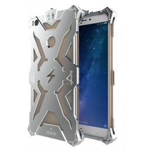 Цельнометаллический противоударный чехол из авиационного алюминия на винтах с мягкой внутренней защитной прослойкой для гаджета с прямым доступом к разъемам для Xiaomi Mi Max 2 Белый
