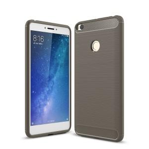 Силиконовый матовый непрозрачный дизайнерский фигурный чехол текстура Металлик для Xiaomi Mi Max 2  Серый