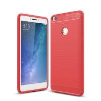 Силиконовый матовый непрозрачный дизайнерский фигурный чехол текстура Металлик для Xiaomi Mi Max 2  Красный