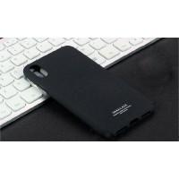 Пластиковый непрозрачный матовый чехол с повышенной шероховатостью для Iphone X 10  Черный