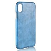 Силиконовый чехол накладка текстурная отделка Кожа для Iphone X 10  Голубой