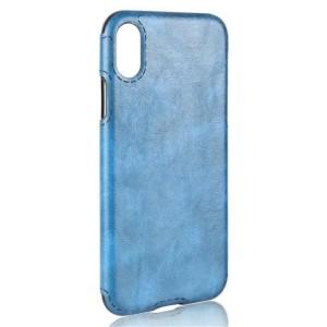 Силиконовый чехол накладка текстурная отделка Кожа для Iphone X 10/XS Голубой