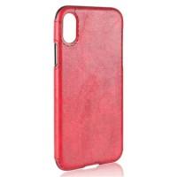 Силиконовый чехол накладка текстурная отделка Кожа для Iphone X 10  Красный