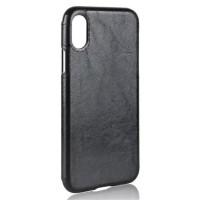 Силиконовый чехол накладка текстурная отделка Кожа для Iphone X 10  Черный