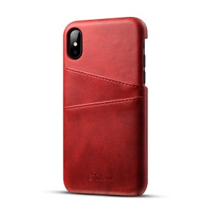 Чехол накладка текстурная отделка Кожа с отсеком для карт для Iphone X 10/XS Красный