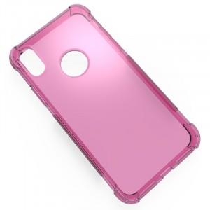 Силиконовый глянцевый полупрозрачный чехол с усиленными углами для Iphone X 10/XS Розовый