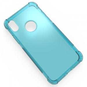 Силиконовый глянцевый полупрозрачный чехол с усиленными углами для Iphone X 10/XS Голубой