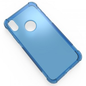 Силиконовый глянцевый полупрозрачный чехол с усиленными углами для Iphone X 10/XS Синий