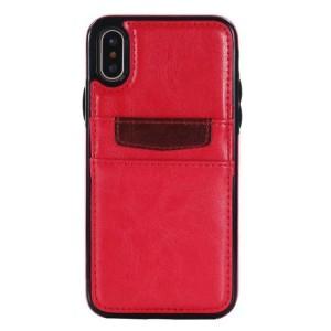 Силиконовый чехол накладка текстурная отделка Кожа с отсеком для карт для Iphone X 10/XS Красный