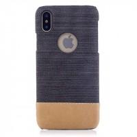 Пластиковый непрозрачный чехол с тканевым покрытием для Iphone X 10  Серый