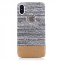 Пластиковый непрозрачный чехол с тканевым покрытием для Iphone X 10  Белый