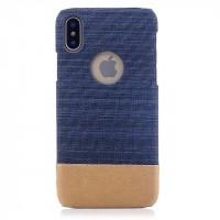 Пластиковый непрозрачный чехол с тканевым покрытием для Iphone X 10  Синий