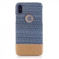 Пластиковый непрозрачный чехол с тканевым покрытием для Iphone X 10  Голубой