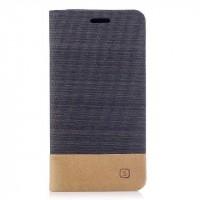 Чехол горизонтальная книжка подставка с тканевым покрытием на силиконовой основе с отсеком для карт для Iphone X 10  Черный