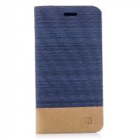Чехол горизонтальная книжка подставка с тканевым покрытием на силиконовой основе с отсеком для карт для Iphone X 10  Синий