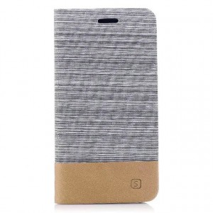 Чехол горизонтальная книжка подставка с тканевым покрытием на силиконовой основе с отсеком для карт для Iphone X 10/XS Белый