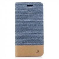 Чехол горизонтальная книжка подставка с тканевым покрытием на силиконовой основе с отсеком для карт для Iphone X 10  Голубой