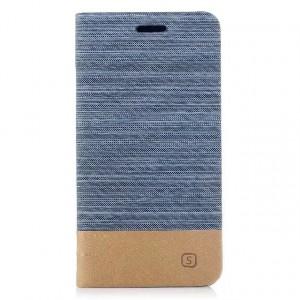 Чехол горизонтальная книжка подставка с тканевым покрытием на силиконовой основе с отсеком для карт для Iphone X 10/XS Голубой