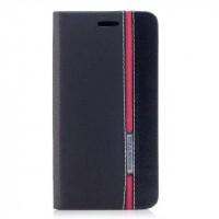Чехол горизонтальная книжка подставка текстура Линии на силиконовой основе с отсеком для карт для Iphone X 10  Черный