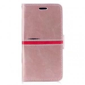 Чехол горизонтальная книжка подставка текстура Линии на силиконовой основе с отсеком для карт на магнитной защелке для Iphone X 10/XS Розовый