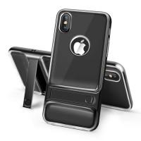 Двухкомпонентный силиконовый матовый полупрозрачный чехол с поликарбонатным бампером и встроенной ножкой-подставкой для Iphone X 10 Черный