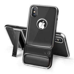 Двухкомпонентный силиконовый матовый полупрозрачный чехол с поликарбонатным бампером и встроенной ножкой-подставкой для Iphone X 10