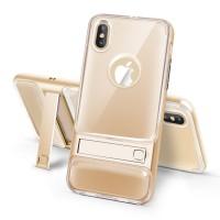 Двухкомпонентный силиконовый матовый полупрозрачный чехол с поликарбонатным бампером и встроенной ножкой-подставкой для Iphone X 10 Бежевый