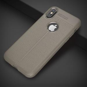 Силиконовый матовый непрозрачный чехол с текстурным покрытием Кожа для Iphone X 10/XS Серый