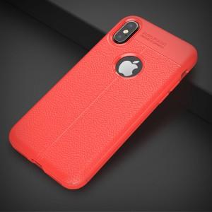 Силиконовый матовый непрозрачный чехол с текстурным покрытием Кожа для Iphone X 10/XS Красный