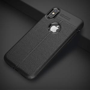 Силиконовый матовый непрозрачный чехол с текстурным покрытием Кожа для Iphone X 10/XS Черный