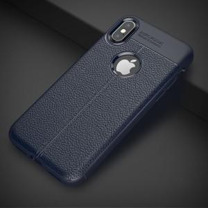 Силиконовый матовый непрозрачный чехол с текстурным покрытием Кожа для Iphone X 10/XS Синий