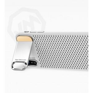Пластиковый непрозрачный матовый чехол с подставкой и улучшенной защитой элементов корпуса для Iphone X 10/XS Белый