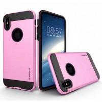 Противоударный двухкомпонентный силиконовый матовый непрозрачный чехол с поликарбонатными вставками экстрим защиты для Iphone X 10 Розовый