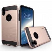 Противоударный двухкомпонентный силиконовый матовый непрозрачный чехол с поликарбонатными вставками экстрим защиты для Iphone X 10 Бежевый