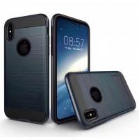 Противоударный двухкомпонентный силиконовый матовый непрозрачный чехол с поликарбонатными вставками экстрим защиты для Iphone X 10 Синий