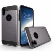 Противоударный двухкомпонентный силиконовый матовый непрозрачный чехол с поликарбонатными вставками экстрим защиты для Iphone X 10 Серый