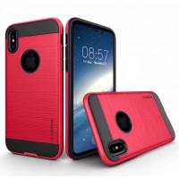 Противоударный двухкомпонентный силиконовый матовый непрозрачный чехол с поликарбонатными вставками экстрим защиты для Iphone X 10 Красный