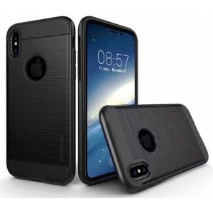 Противоударный двухкомпонентный силиконовый матовый непрозрачный чехол с поликарбонатными вставками экстрим защиты для Iphone X 10/XS Черный