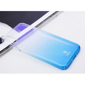 Пластиковый полупрозрачный градиентный чехол с улучшенной защитой элементов корпуса для Iphone X 10/XS Синий