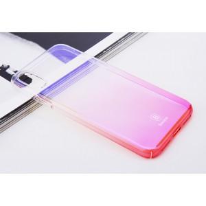 Пластиковый полупрозрачный градиентный чехол с улучшенной защитой элементов корпуса для Iphone X 10/XS Розовый