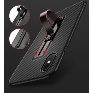 Силиконовый матовый непрозрачный дизайнерский фигурный чехол с встроенной ножкой-подставкой и текстурным покрытием Карбон для Iphone X 10/XS Красный
