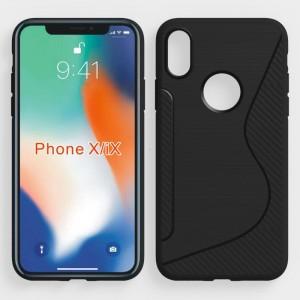 Силиконовый матовый непрозрачный чехол с дизайнерской текстурой S для Iphone X 10/XS Черный