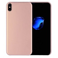 Силиконовый матовый непрозрачный чехол для Iphone X 10  Розовый