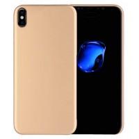 Силиконовый матовый непрозрачный чехол для Iphone X 10  Бежевый