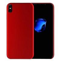 Силиконовый матовый непрозрачный чехол для Iphone X 10  Красный