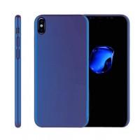Силиконовый матовый непрозрачный чехол для Iphone X 10  Синий