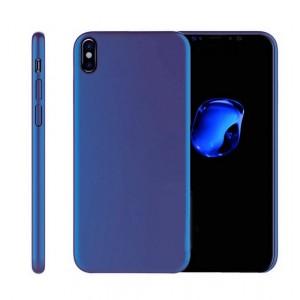 Силиконовый матовый непрозрачный чехол для Iphone X 10/XS Синий