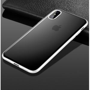 Силиконовый матовый полупрозрачный чехол с допзащитой камеры для Iphone X 10/XS