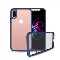 Силиконовый матовый полупрозрачный чехол для Iphone X 10  Синий
